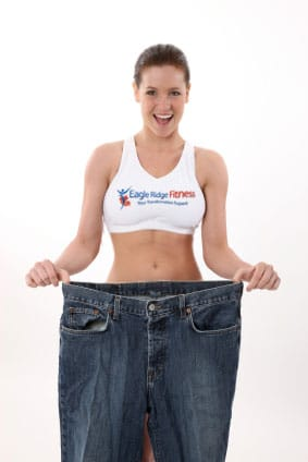 Weight loss girl with bigger jeans